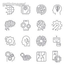 Set of thin icons related to artificial intelligence and data science mono line. Lb Logo, Graphic Design Typography, Logo Design, Data Icon, Machine Learning Artificial Intelligence, Science Doodles, Computer Logo, Small Doodle, Brain Logo