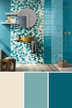 Find out how to combine duck blue in the bathroom or other rooms in the house. Source by decofr Bathroom Sink Bowls, Mosaic Bathroom, Wood Bathroom, Bathroom Wallpaper, Bathroom Colors, Home Decoration Images, Boutique Interior Design, Amazing Bathrooms, Bathroom Inspiration