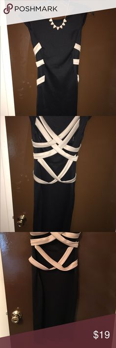 Beautiful elegant black tight fitted👄 This is a beautiful dress, when i wore this dress i felt Beautiful, sexy but classy 💁🏽 sorry necklace not included. But the dress is in great condition. Material this stretches so that Plus! I just dont see myself going to ever wear it again. With 3 kids👨👩👧👧👶🏼 😂😩 Dresses Backless