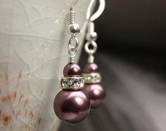 Wine Pearl Earrings Drop Round Burgundy Plum Sterling by fineheart, $18.00