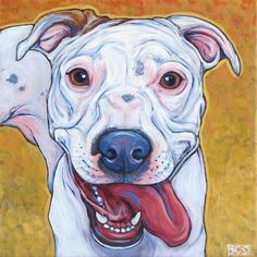 Aria the American Bulldog and Lab Mix Painting in Acrylic on Canvas from Pet Portraits by Bethany.