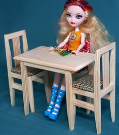 """Table 2 Chairs set dollhouse wooden Furniture 1:6 scale 12"""" dolls Barbie Momoko MH EAH Bratz accessories 1 6 size role-playing games + Gift by PapaKarloUA on Etsy"""