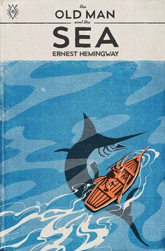 """printdesignclub: """"Cover illustration for Ernest Hemingway's The Old Man and Sea by Muti - Print Design """" Meer Illustration, Graphic Design Illustration, Digital Illustration, Best Book Covers, Beautiful Book Covers, Book Cover Design, Book Design, Ux Design, Flyer Design"""