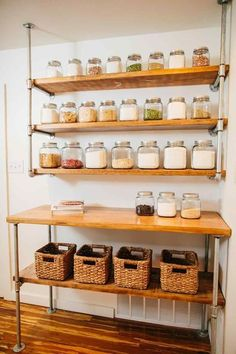 17 Awesome Pantry Shelving Ideas to Make Your Pantry More Organized Pantries are practical additions to any home. From simple solutions to elaborate showcases, here are great open pantry shelving ideas. Open Pantry, Kitchen Pantry, Diy Kitchen, Kitchen Storage, Kitchen Decor, Kitchen Design, Organized Pantry, Small Pantry, Kitchen Wood