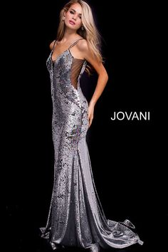 409a8113b0e Silver Fitted Plunging Neckline Sequin Prom Dress 56897