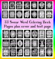 Swear Word Coloring Book Inspirational Printable Instant Download Mature Curse Cuss Pages Adult Colouring