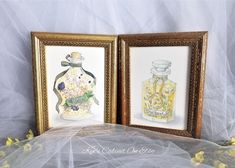 Gold Framed Bath Oil Watercolor Painting Print Set of Two, 2 Vintage Jasmin and Chamomile Oil Art Prints Collection, Bathroom Wall Decor