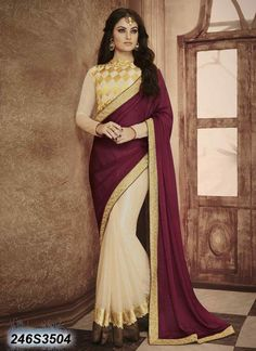 Bedazzling Beige Coloured Lycra Net Embroidered Saree