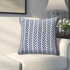Designed to thrill, our pillow collection will add intricate mastery and eye pleasing designs to any room.This soft geometric pattern is the perfect addition to any dorm room, bed room, or comfy couch. The subtle color provides multiple ways for it to be added into your personal styled collection. The chevron pattern adds modern design without overwhelming the space. Hand-crafted with the customer in mind, there is no compromise of comfort and style with the pillow line we create. Features… Blue Throw Pillow Cover, Blue And White, Decorative Throws, Pillows, Trending Decor, Boho Chic Furniture, White Couch Pillows, Lr Home, Chevron Throw Pillows