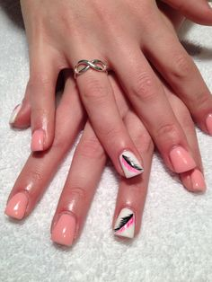 Gel nails with hand painted design by Jessica Baker