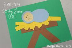 Simple Paper Baby Jesus Craft - Happy Home Fairy - Kids Ideas Preschool Christmas Crafts, Nativity Crafts, Preschool Crafts, Holiday Crafts, Spring Crafts, Christmas Activities, Happy Home Fairy, Bible Story Crafts, Christian Crafts