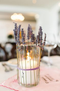 DIY Lavender Candle Centrepiece! You can get the same look by tying the lavender directly to Candle Impressions flameless votives