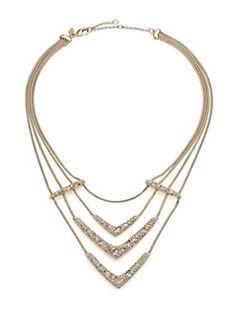 Alexis Bittar - Miss Havisham Mosaic Crystal Draped Snake Chain Bib Necklace