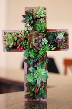 Succulent Living CROSS Hang or Stand Centerpiece Outdoor Decor Perfect Unique Gift and Home Decor via Etsy