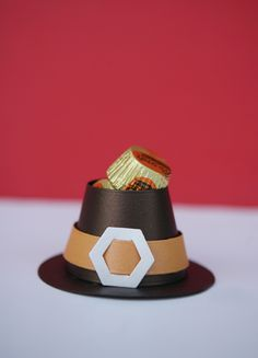 Tiny Pilgrim Hat Candy Holder - on kids table at Thanksgiving? Made with Quickutz Pilgrim Hat Die by Lifestyle Crafts