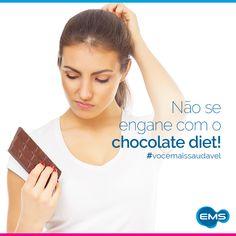Anda exagerando no chocolate diet? Esse tipo de chocolate é indicado para quem tem restrições ao consumo de açúcar e, geralmente, possui maior quantidade de gordura. Busque sempre a moderação, assim você consegue manter a sua saúde! =] #vocêmaissaudável