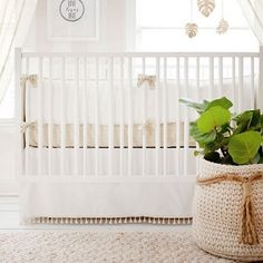 White Crib Bedding | Gold Dust Collection