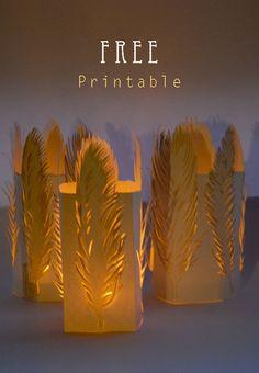 free printable feather tealight holder 1                              …