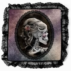Unique Gothic Inspired Victorian Style Black Lace Cameo Skull Purple Decorative Pillow Case on Etsy, £13.90