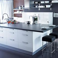 I've always wanted a huge kitchen island with a built in sink