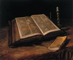 Still Life with Open Bible. April 1885. Oil on canvas. Vincent van Gogh Foundation, Rijksmuseum Vincent van Gogh, Amsterdam, the Netherlands...
