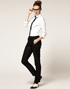 Concept 1 - androgynous / baggy denim  outfits being brought -  X BF denim from work simple black crop tank baggy white paint splatter t shirt  *maybe bring blazer and glasses to pair with jeans?