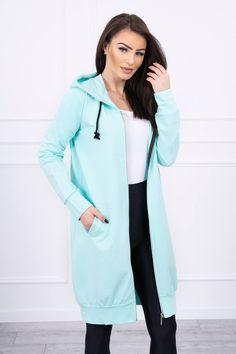 Dlhá dámska mikina mätová na zips Hooded Dress, Long Hoodie, Hoods, Rain Jacket, Windbreaker, Zip, Modeling, Sweatshirts, Lady