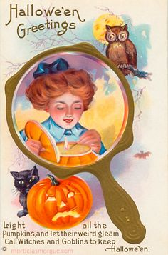 Vintage Stecher lithograph Halloween postcard of a young girl in a mirror as an owl and black cat watch.