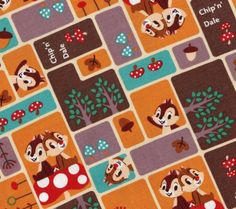 Japanese Fabric  Chip and Dale  Autumn  by ThisandThatFromJapan