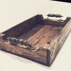 Rustic Wood Serving Tray by HarvestTrailJourney on Etsy