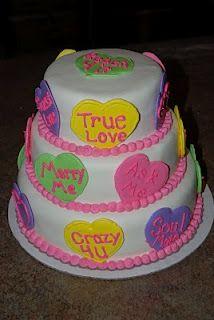 Valentine's Conversation Hearts Cake