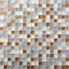 TST Glass Stone Grey & Orange Green Squared Kitchen Wall Mosaics.Different color grids distributed randomly. View more: http://www.tstmosaictiles.com/index.php?route=product/product&product_id=342&search=TSTFLY11