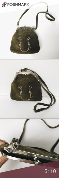 Vintage Embroidered Suede Bag Genuine suede bag. Measures 8x8. 3 interior pockets and detachable 16.5 inch strap. Perfect condition. Vintage Bags