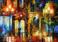 Belorussian painter Leonid Afremov, with only a palette knife and oil paint, loves to create colorful scenes that reproduce the bustling city aroma.