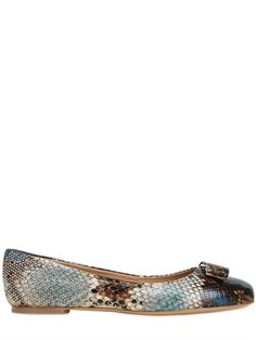 "SALVATORE FERRAGAMO - 10MM ""VARINA"" BALLERINAS MIT PYTHONDRUCK - LUISAVIAROMA - LUXURY SHOPPING WORLDWIDE SHIPPING - FLORENZ"