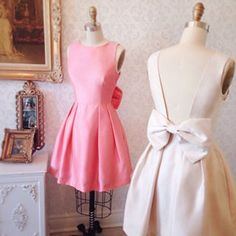 Veyda Cream - Shimmering beige back bow dress