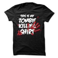 (Cool T-Shirts) This is my Zombie Killing Shirt – Order Now Frog T Shirts, Tee Shirts, Shirt Hoodies, Cotton Shirts, Funny Shirts, Zombie Shirt, Halloween Shirt, Halloween Humor, Halloween Birthday
