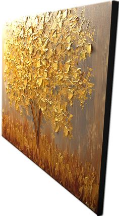 Golden Landscape Painting by Osnat. As this is a MADE-TO-ORDER painting, it will be as close as possible to the one you see here, that I have already sold. Time frame to create it is six business days. The painting will be ready to hang, signed and created by me and shipped directly from my studio. Paintings name: The Golden Tree Size: 40x30 Edges will be painted as a continuation of the painting. All my paintings are created with great care and are coated with varnish to prote...