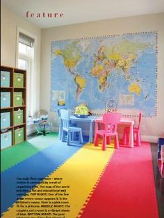 Interiors, Design  Kids playroom  simple colourful and inexpensive featured in www.ourhomesmagazine.com/windsor