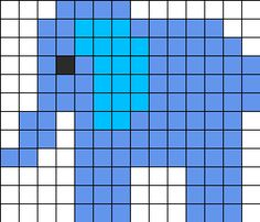 Elephant Perler Pattern Perler Bead Pattern | Bead Sprites | Animals Fuse Bead Patterns