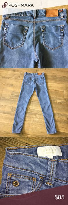 "Authentic Gucci kids skinny jeans sz 8 Authentic Gucci kids skinny jeans sz 8 Waist measures 12"" flat inseam 23.5"" good condition some slight wear on knees Gucci Bottoms Jeans"