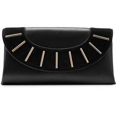 Diane von Furstenberg Leather and Suede Clutch ($180) ❤ liked on Polyvore featuring bags, handbags, clutches, black, suede purse, genuine leather handbags, real leather purses, 100 leather handbags and leather purses