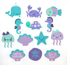 Large Teal & Purple Under the Sea Die Cut Whale Jellyfish Fish Seahorse Octopus Crab Turtle Cut Out ANY MiX or ALL the SAME Sea Creature Mermaids Birthday Party Ideas | Photo 2 of 16