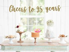Cheers To 95 Years Loved Banner Happy 95th Birthday Blessed Ninety Five Party Decor