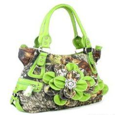 Handbags, Bling & More! Western Green Camouflage Flower Rhinestone Fashion Purse : Camouflage Purses