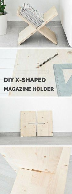 Plans of Woodworking Diy Projects - Check out the tutorial: #DIY X-Shaped Magazine Holder #crafts #homedecor Get A Lifetime Of Project Ideas & Inspiration!