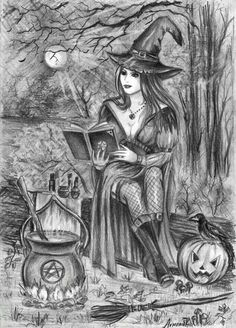 adult coloring pages Halloween - Witch Coloring Pages, Free Adult Coloring Pages, Halloween Coloring Pages, Coloring Pages To Print, Coloring Books, Witch Art, Wow Art, Halloween Make, Halloween Artwork