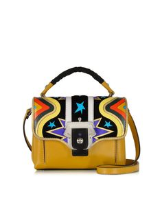 Paula Cademartori Dun Dun Intarsio Big Bang Ocher Leather and Suede Satchel at FORZIERI