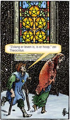 Pentakels vijf. Angst voor armoede en ellende, maar op de afbeelding de werkelijke situatie. Lees meer op http://tarotstapvoorstap.nl/proefles-cursus-tarot/tarot-cursus-pentakels-vijf/