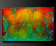 "Abstract painting, contemporary fine wall art.  Red, orange, yellow, aqua, turquoise.  ""Reaction 2"""